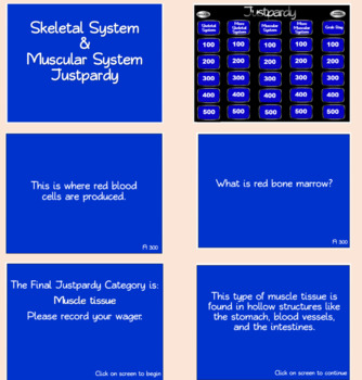 Skeletal System & Muscular System Review: Justparty Review Game and Study Guide