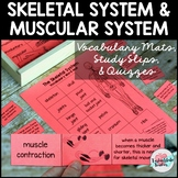 Skeletal System | Musculary System Vocabulary Mats, Study Slips, Quizzes