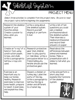 Skeletal System Project Menu and Rubric--FREEBIE