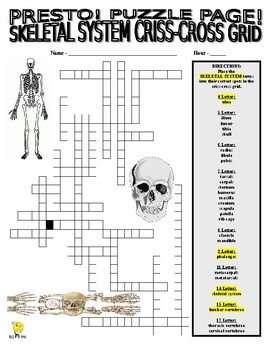 Skeletal System Puzzle Page (Wordsearch and Vocabulary Criss-Cross)