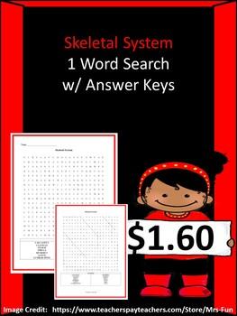 Skeletal System Word Search w/ Answer Key