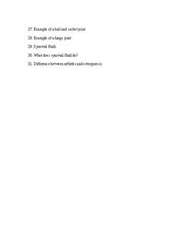 Skeletal System Worksheet Questions