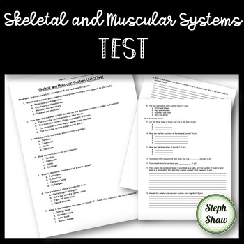 Skeletal and Muscular Systems Test