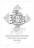 Skeleton: Human Biology, Word Search, Word Scramble, Crossword