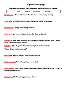 Skeleton Man Chapters 1-3 Figurative Language Matching
