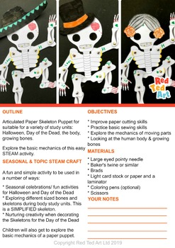 Skeleton Puppet - Multiple Use - STEAM Craft Activity (Lesson Plan & Printable)