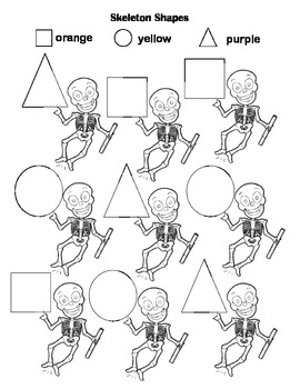 Skeleton Shapes / Halloween Shapes Worksheet