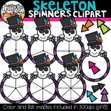 Skeleton Spinners Clipart Bundle {Halloween Clipart}