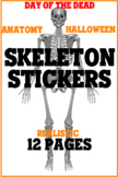 Skeleton Stickers, Halloween, Day of the Dead, Anatomy, Cl