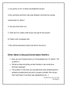 Skeleton for Dinner Comprehension Questions & Discussion Topics