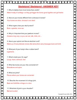 Skeletons! Skeletons! All About Bones by Katy Hall Questions- Common Core