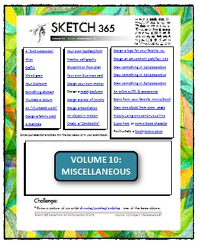 Interactive Sketch List: Daily Sketch/Drawing/Art Activity V10of10:Miscellaneous