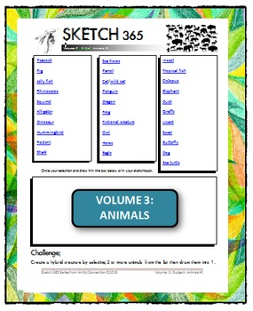 Interactive Sketch List: Daily Sketch/Drawing/Art Activity V3of10:Animals