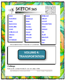 Interactive Sketch List: Daily Sketch/Drawing/Art Activity V4of10:Transportation
