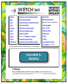 Interactive Sketch List: Daily Sketch/Drawing/Art Activity V5of10:People