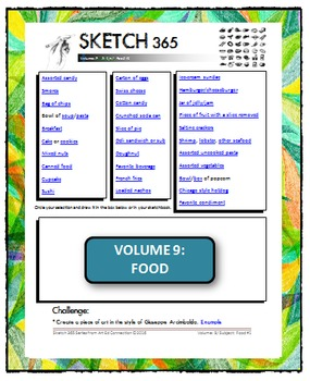 Interactive Sketch List: Daily Sketch/Drawing/Art Activity V9of10:Food