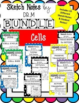 Sketch Notes CELLS BUNDLE! W/Teacher's Guide & Student Notes! Includes 10!