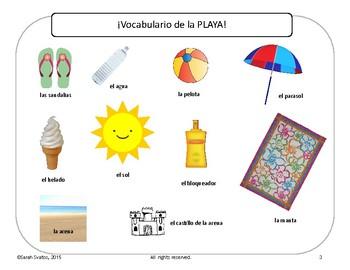 Sketch and Label Spanish Beach Words, Playa, Summer Vocabulary Grades K-5