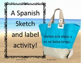 Sketch and Label Spanish Beach Words, Playa, Summer Vocabulary Grades 6-12