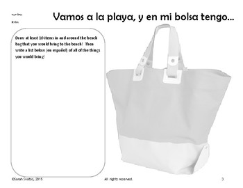 Sketch and Label Spanish Beach Words, Playa, Summer Vocabulary Grades 6-12