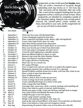 Sketchbook Assignments 2014-15