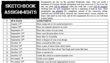 Sketchbook Assignments 2018-19 Art 2