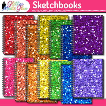 Rainbow Glitter Sketchbook Clip Art {Art Supplies for Drawing Prompts}