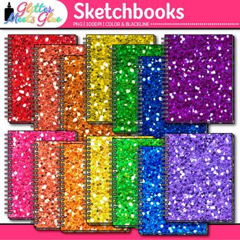 Rainbow Glitter Sketchbook Clip Art {Art Supplies for Draw