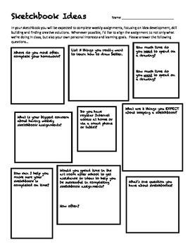 Sketchbook Ideas Worksheet