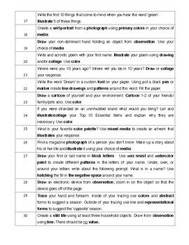 Sketchbook Prompt List