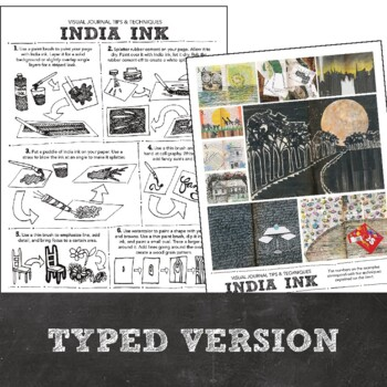 Sketchbook, Visual Journal, or Art Journal Activity: Six Ways to Use India Ink