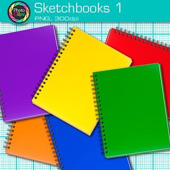 Rainbow Sketchbook Clip Art {Back to School Supplies, Drawing Book Graphics} 1