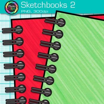 Rainbow Sketchbook Clip Art {Back to School Supplies, Drawing Book Graphics} 2