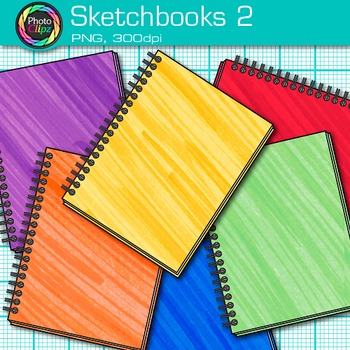 Rainbow Sketchbook Clip Art {Back to School Supplies, Drawing Book Graphics} 2