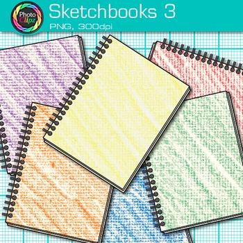 Rainbow Sketchbook Clip Art {Back to School Supplies, Drawing Book Graphics} 3