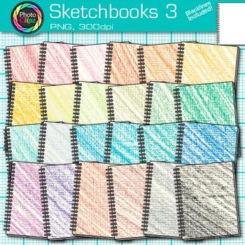 Rainbow Sketchbook Clip Art {Back to School Supplies, Draw