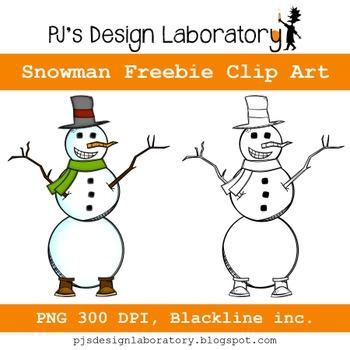 Sketched Snowman Clip Art Freebie