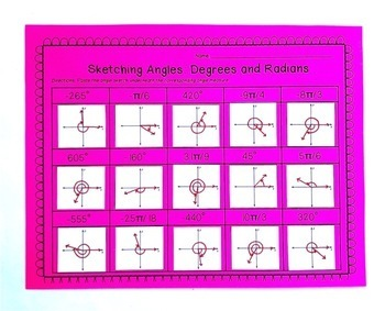 Sketching Angles in Standard Form: Cut and Paste Activity