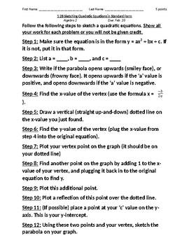 Sketching Quadratic Equations in Standard Form