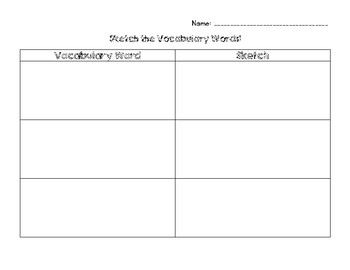 Sketching Vocabulary Words