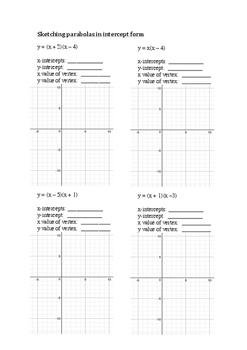 Sketching simple parabolas in intercept form