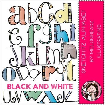 Sketchitz Alphabet by Melonheadz BLACK AND WHITE