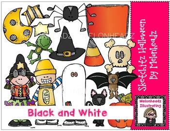 Sketchitz Halloween clip art - BLACK AND WHITE- by Melonheadz