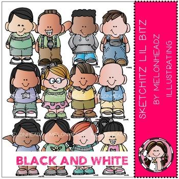 Sketchitz Lil Bitz by Melonheadz BLACK AND WHITE