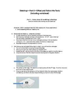 Sketchup--3D Design-Part II- Handout--Worksheet/Key