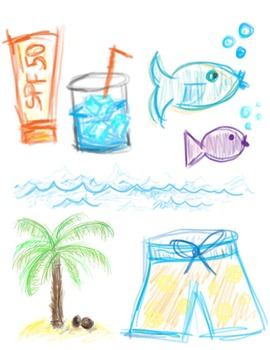 """Sketchy"" Beach Clipart"