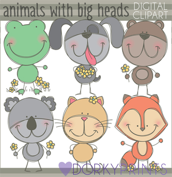 Sketchy Big Head Animals Clipart