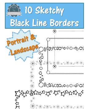 Borders bundle - Sketchy Black Line  - Commercial Use OK