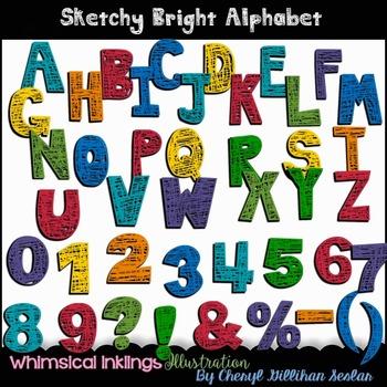 Sketchy Bright Alphabet