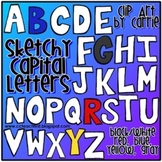 Sketchy Capital Letters Doodles (BW and 4 different full color images)